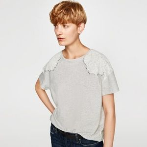 NWT Zara Size M Lace Applique Tee
